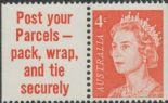 AUS SG385 4c Queen Elizabeth II tab pair helecon ink - Post Your Parcels